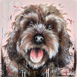Happy Pup by Samantha Ellis -  sized 30x30 inches. Available from Whitewall Galleries
